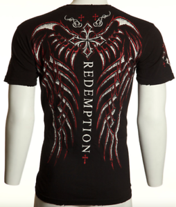 40-ARCHAIC-by-AFFLICTION-Mens-T-Shirt-SPINE-WINGS-Tattoo-BLACK-Biker-UFC-S-NWT