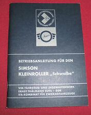 Betriebsanleitung Simson Kleinroller Schwalbe