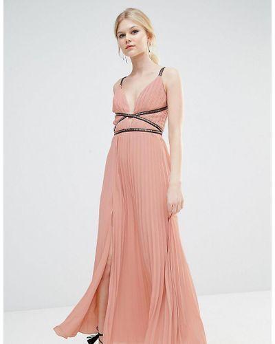 True Decadence Women's Pink Grecian Style Maxi Dress In Pleat Fabric12,14,18