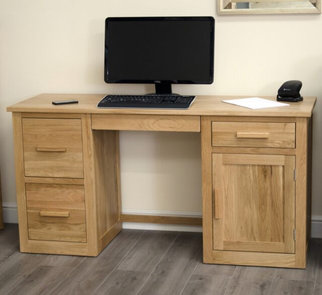 Arden solid oak large computer PC laptop desk home office study furniture