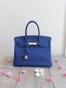 7466397f340f Rare 100% Authentic Pre-owned Hermes Birkin 30 7T Blue Electric with ...