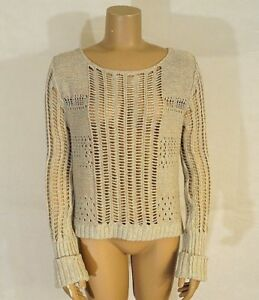 498a5bab2 Details about Women s M Free People Tan Pink Blue Pastel Wide Open Knit  Boxy Pullover Sweater