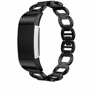 Fitbit Charge 2 Black Metal Replacement Wristband Strap Band Stainless Steel New