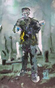 ORIGINAL Abstract Frankenstein 's Monster Palette Knife Horror Dark Art Painting