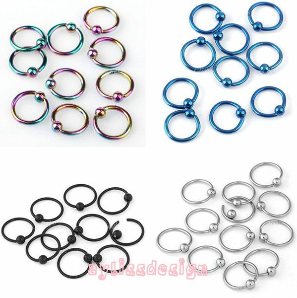 Fashion Piercing Stainless Steel Captive Ear Nose Hoop Ring Bar Ball Cool 16G AD