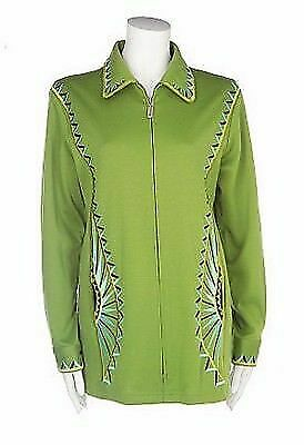 BOB MACKIE/'S Stretch Ponte Knit Geometric Embroidered Jacket 240433RM