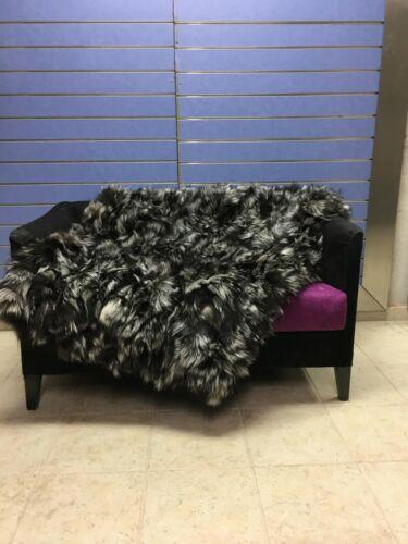 Luxury Silver Fox Fur Throw Real Arzante Fox Fur Blanket //Bedspread Big Discount