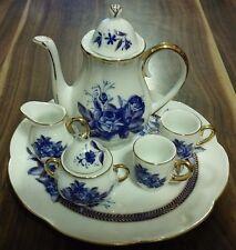 PORCELAIN CHINA DOLL HOUSE MINIATURE TEA SET COBALT BLUE ROSES GOLD TRIM