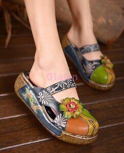 sandale mules rond retro compensé talon Womens boho chaussures bout pantoufle fleur diapositives KJlc1F