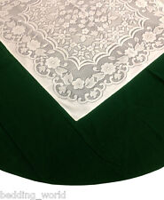 """69"""" ROUND GREEN VELVET LACE TABLE CLOTH TRADITIONAL CHRISTMAS PARTY OCCASIONS"""