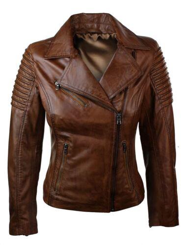 Woman Slim Fit Brown Genuine Real Leather Biker Jacket