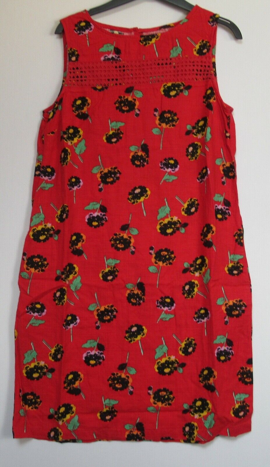 New Next Linen Blend Red Floral  Print Summer Shift Dress - Size 10 - 26