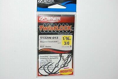 2 PACKS OF Owner Twistlock Weighted Bass Hook 5//0 1//8oz 3 PER PACK 5132W-025