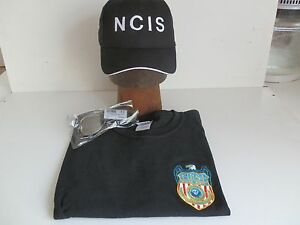NCIS-Shield-embroidered-on-Black-T-Shirt-L-41-43-NCIS-Cap-Sunglasses-New