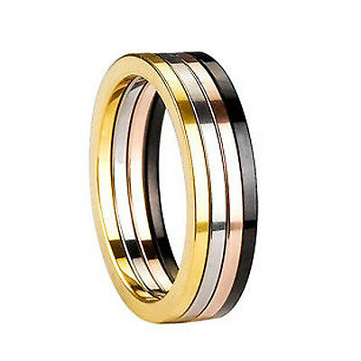 Clearance 4pc Set Tungsten Rings Black Gold Rose Gold Natural Midi Pinky