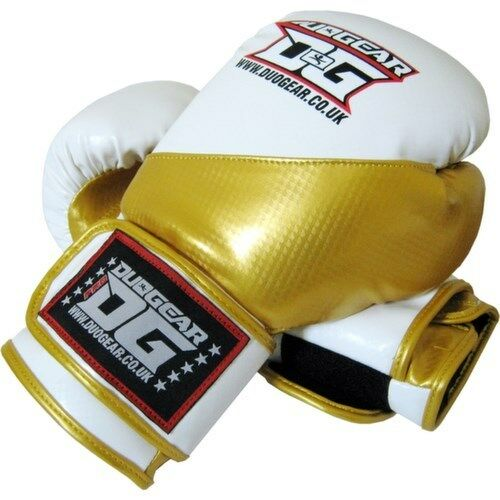 WHITE /'METALLICA/' REXINE MUAY THAI KICKBOXING BOXERS GLOVES