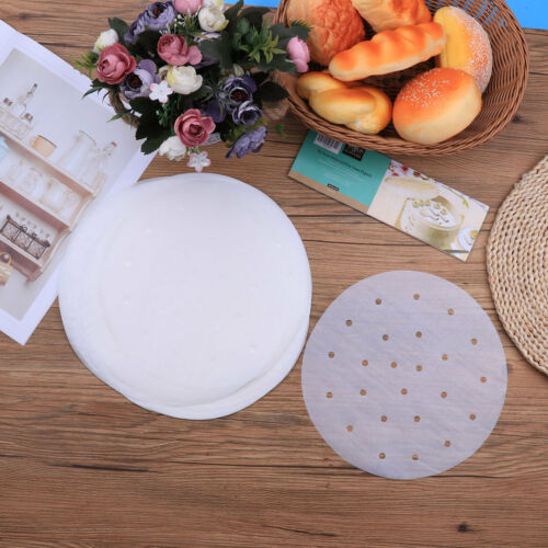 100PCS 7//9 inch Premium Perforated Parchment Bamboo Steamer Paper Liners Round