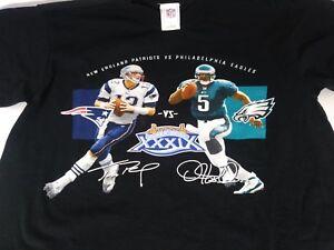 PATRIOTS-EAGLES-Vintage-Mens-Super-Bowl-XXXIX-Medium-T-Shirt-Brady-McNabb