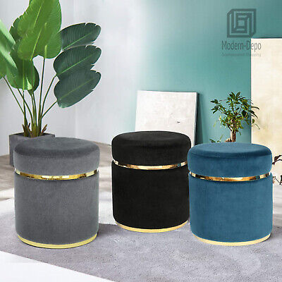 Small Round Living Room Ottoman Upholstered Foot Rest