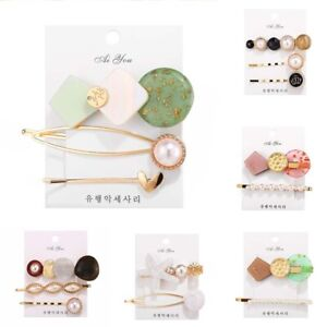 Stick-Plastic-Barrette-Snap-Hair-Pearl-3Pcs-Hairpin-Clips-Accessories-Women