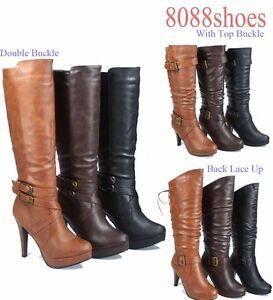 Women-039-s-Zipper-High-Heel-Platform-Mid-Calf-Knee-High-Boots-Shoes-Size-5-10-NEW