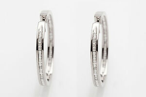$7000 4ct Natural Baguette Diamond IN & OUT 14k White Gold BIG Hoop Earrings