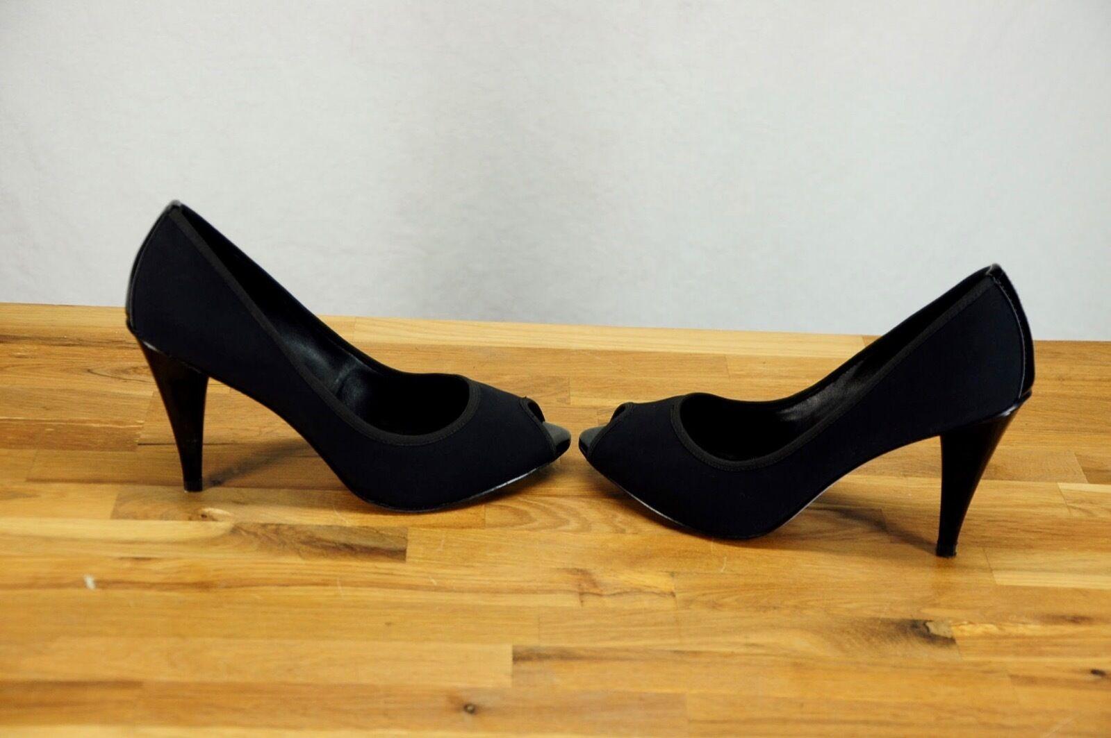 NEW Donald J. Pliner Open Peep Toe Black Black Black Patent Leather Fabric High Heels 7.5 81b895