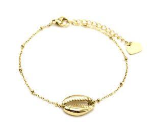 BC3694F-Bracelet-Chaine-Boules-avec-Charm-Coquillage-Cauri-Acier-Dore