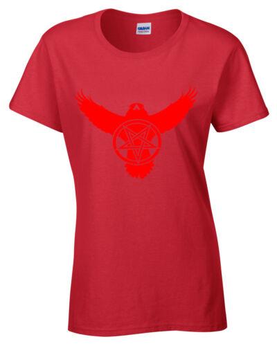 Crow Pentagram T-Shirt Womens S-2XL Biker metal rock goth raven satanic ladies