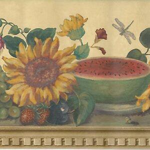 Watermelon Sunflower Butterfly on Golden Shelf - ONLY $9 - Wallpaper Border 410