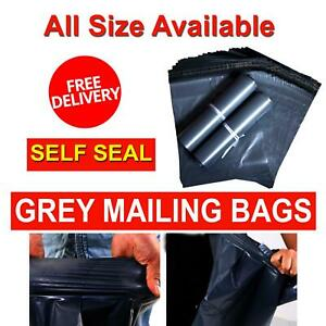 Grey-Mailing-Bags-Self-Seal-Strong-Poly-Postal-Postage-Post-WaterProof-Mail-Bag
