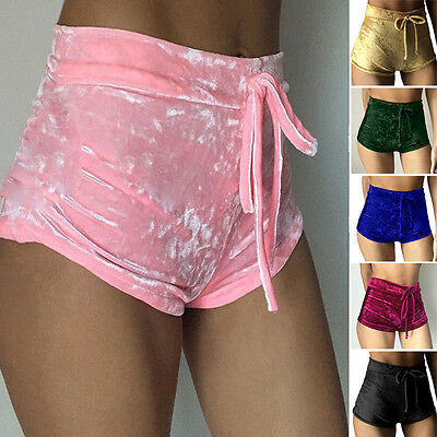 Women Sexy Casual Crushed Velvet Running Sports Shorts High Waist Hot Pants S-XL