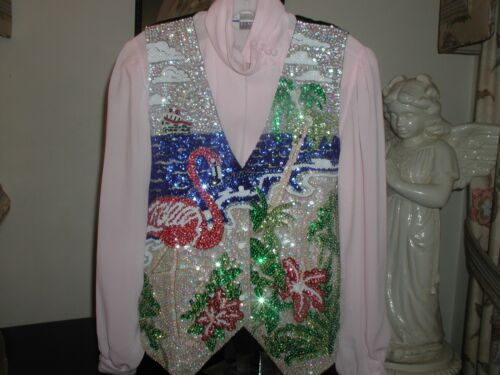 Cruise Noël Glittering de Flamingos Sequin Wear Flamingo 3x Vest cadeau Grand xzwBPPfaEq