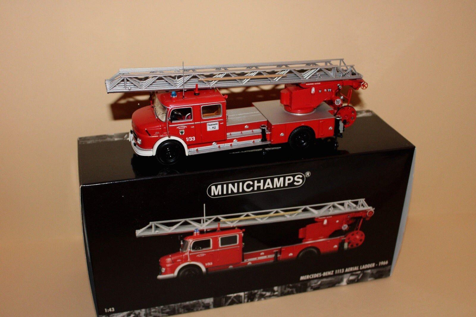 Minichamps 1 43 439031070 Mercedes-Benz 1113 AERIAL LADDER 1966 Feuerwehr OVP