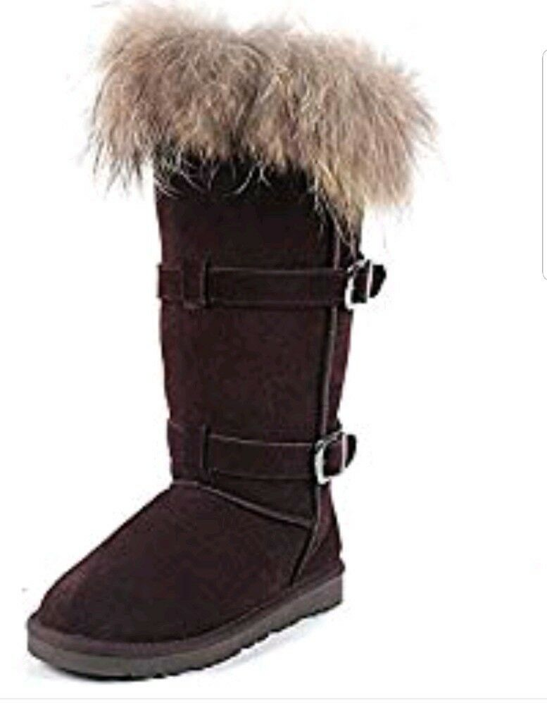 Milanao Winter Fox Fur Tall Leather Brown Snow Boot Boot Boot Size 6.5 db5f4e