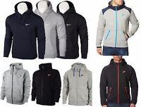 Nike Mens Fleece Hoodie Hooded Jacket Sweatshirt Jumper Black Grey