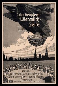 Alte-Reklame-1909-Steckenpferd-Lilienmilch-Seife-Zepplin-Bergmann-Radebeul