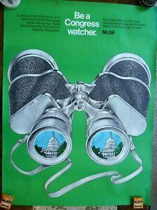 "Vintage Mobil Political Poster ""Be a Congress Watcher"""