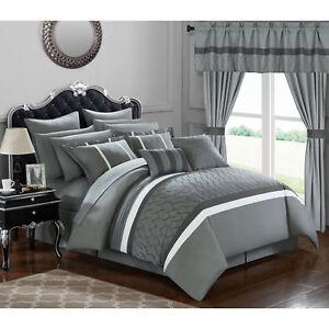 Details about Bedroom Comforter Set 24Pc Room In A Bag Master Guest Dorm  Sheets Curtains