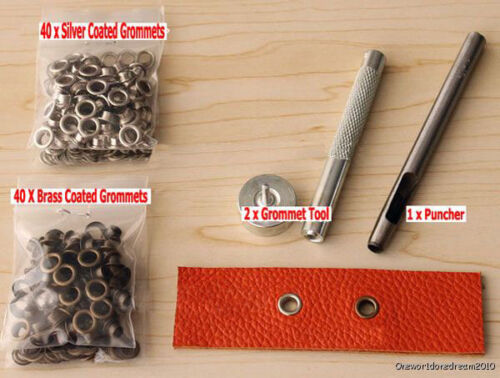 80 Eyelet Leather Hole Punch 6MM Grommets Installation Setting Tool Kit Set
