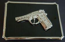 RHINESTONE HANDGUNS FIREARM GUNS HEAVY COOL BELT BUCKLE BOUCLE DE CEINTURE