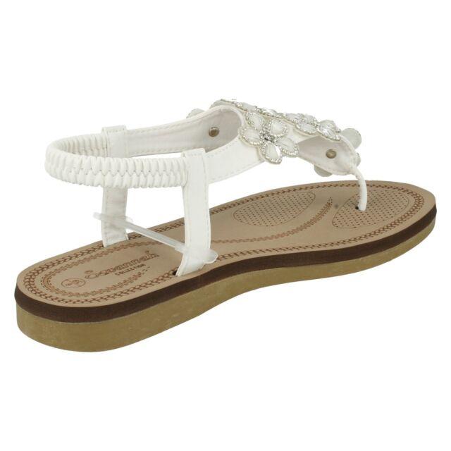 Sandals Ladies White/Pink Savannah Collection Toe Post Sandals UK Sizes 3-8 F0R984 Women's Shoes