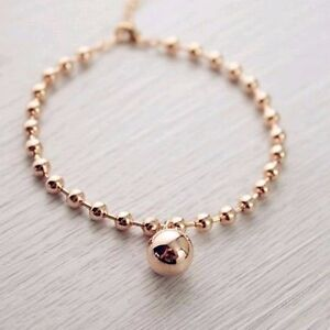 Stunning-18K-Rose-Gold-Filled-Women-12MM-Round-Ball-Beads-pendant-Charm-Bracelet