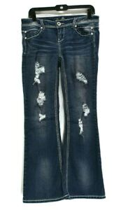 Rue21-Premiere-Denim-Women-7-8-Distressed-Ripped-Damaged-Boot-Cut-Jeans