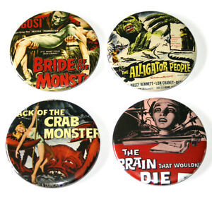 B-Movie-Horror-Film-Posters-Fridge-Magnets-Set-55m-4pc-Retro-Decor-Movie-Gift