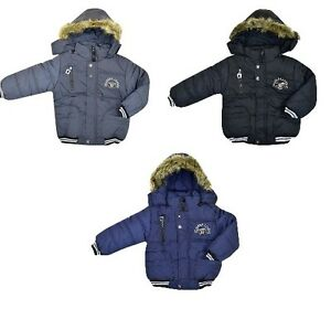 Boys-Padded-Bomber-Jacket-Lined-Black-Grey-Navy-School-Coat-Winter-Age-2-3-4-5-6