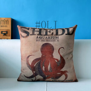 Home-Decor-Big-Red-Octopus-Sea-Animal-Cotton-Linen-Cushion-Cover-LauR-45cm-18-034-O