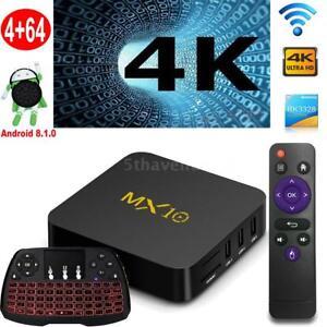 MX10 Android 8.1 4K Media Smart TV Box RK3328 Quad Core 4GB+64GB WIFI w/Tastatur