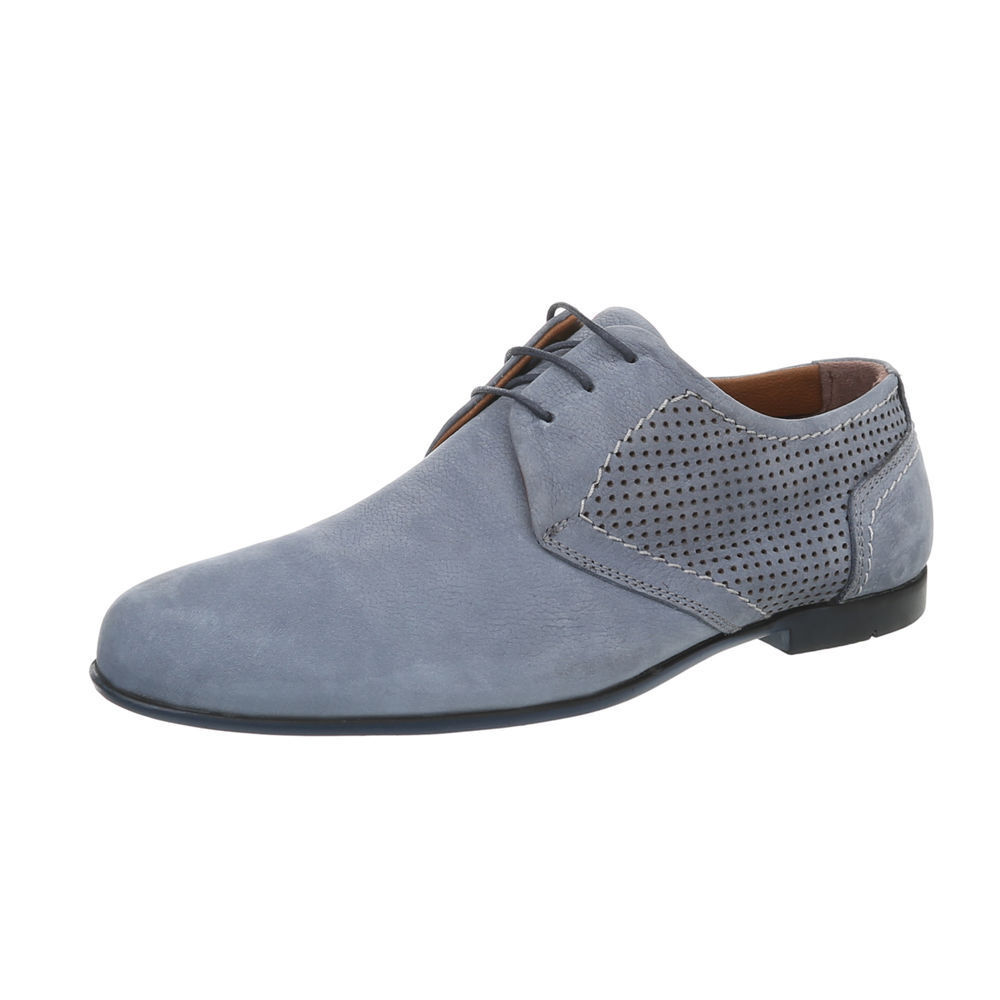 Cuero con cordones zapatos abotinados zapatos caballero de diseño nuevo talla 40 azul pálido 2808