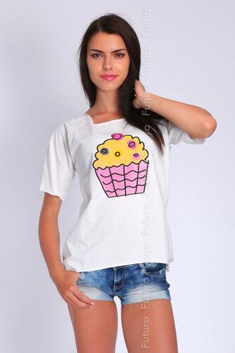 Ladies Casual Asymmetric Top Short Sleeve Crew Neck T-Shirt Size 8-12 FT1907